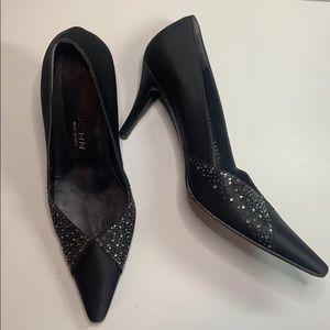 St. John rhinestone and black satin heels sz 9